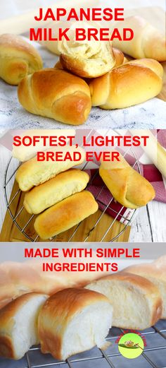 Japanese Milk Bread- the softest, lightest and fluffiest bread ever. It is so soft that you can tear the buns apart like cotton, and peel off the layer like paper when it is fresh from the oven. It is a big contrast to hard crusted, razor-sharp crusty hard rolls that can slice up your tongue. You can get the full recipe and the detail instruction at: http://tasteasianfood.com/japanese-milk-bread/ #AsianFoodRecipes