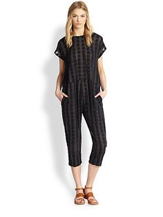 ACE & JIG - Flocked Square-Patterned Voile Jumpsuit - Saks.com