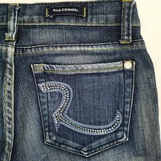 Rock and Republic Jeans Size 30 x 31 Crystal Roth Boot Cut 9051 Addict Wash #RockRepublic #BootCut