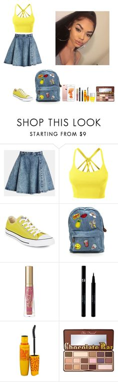 """""""-Glo Queen"""" by thegloup-reina on Polyvore featuring Topshop, LE3NO, Converse, Sisley, Maybelline, Nails Inc. and Too Faced Cosmetics"""