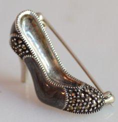 High Heels Enamel pearl Marcasites Brooch Sterling Silver Hallmark Stamped