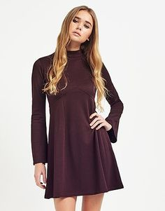 Womens damson boohoo high neck babydoll dress from Lipsy - £18 at ClothingByColour.com