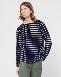 Armor Lux Striped Towelling Sweater Navy & Off White Striped Towels, Men Store, Latest Mens Fashion, Off White, Navy, Sweaters, Fashion Trends, Tops, Women