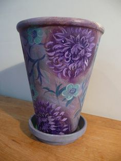 Painted Pot with Purple Flowers