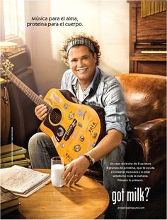 """This ad reads """"Music for the soul, protein for the body."""" This is likely a Spanish music star doing the """"Got milk?"""" campaign."""