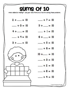 """""""Sums of . Sample student page from the """"Missing Addends"""" practice pack… Math Practice Worksheets, 1st Grade Worksheets, Math Tutor, 1st Grade Math, Math Skills, Kindergarten Math, Teaching Math, Grade 1, Super Worksheets"""