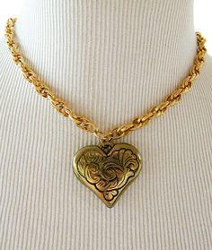 Vintage handgemaakte Choker hart hanger ketting voorzien