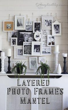 Layered Photo Frame Mantel Decoration