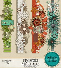 Fall Salutations Page Borders, scrapbook page borders, digital page borders, fall page borders, autumn page borders