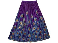 "Womens Bellydance Boho Gypsy Royal Blue Lehenga Peacock Print Skirts India 36"" Mogul Interior, http://www.amazon.com/dp/B007ZM298W/ref=cm_sw_r_pi_dp_QUoOpb0P9EM65$29.99"