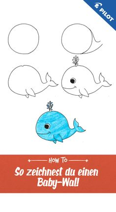 Drawing tutorial: how to draw a whale easily step-by-step - even for . Easy Pencil Drawings, Easy Flower Drawings, Easy Disney Drawings, Easy Drawings For Kids, Doodle Drawings, Drawing For Kids, Cute Drawings, Animal Drawings, Easy Butterfly Drawing