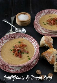 Soup is healthy. This easy Cauliflower and Bacon Soup recipe with bacon is hearty and delicious and just what winter ordered for dinner. Easy Appetizer Recipes, Dessert Recipes, Appetizers, Desserts, Bacon Recipes, Soup Recipes, Cauliflower Bacon Soup, South African Recipes, Soups And Stews