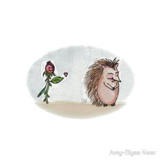 """http://www.redbubble.com/people/amyelyse/works/12842459-miss-hedgehogs-rose """"Miss Hedgehog's Rose"""" ©2014 Amy-Elyse Neer  Original is watercolor and ink on a 6″ × 6″ 140 lb cold press paper.  Miss Hedgehog's Secret admirer makes a move!"""