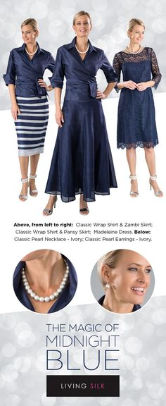 Living Silk - specializing in navy blue long, tea length and knee length lace dresses and two piece outfits with sleeves for the modern and elegant mother of the bride and mother of the groom at a beach, boho, garden, rustic, country, cocktail or formal wedding in Spring / Summer or Fall / Winter   Mother of the Bride / Groom Dresses #livingsilk #motherofthebridedresses #motherofthegroomdresses #celebrateinsilk #puresilk Garden Wedding Dresses, Wedding Dresses Plus Size, Trendy Dresses, Plus Size Dresses, Dress Wedding, Boho Outfits, Winter Dress Outfits, Outfit Winter, Navy Outfits