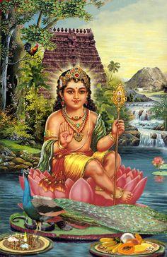 Kartikeya / Muruga / Skanda -- known as the God who created the language Tamil, and is the commander of the the Gods' army -- fighting against the almost equally powerful Asuras. Indian Goddess, Goddess Lakshmi, Divine Goddess, Shiva Art, Hindu Art, Shiva Shakti, Om Namah Shivaya, Ganesha, Hindus