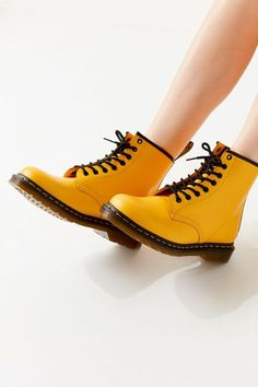 Martens 1460 Color Pop Boot at Urban Outfitters today. Dr. Martens, Doc Martens Stiefel, Doc Martens Boots, Galaxy Converse, Color Pop, Converse Chuck Taylor, Yellow Boots, Style Grunge, Shoe Company
