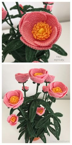 Peony Flower Bouquet Free Crochet Patterns Video Crochet Vase, Diy Crochet Flowers, Crochet Bouquet, Yarn Flowers, Crochet Sunflower, Crochet Flower Tutorial, Paper Flowers Craft, Crochet Crafts, Crochet Projects