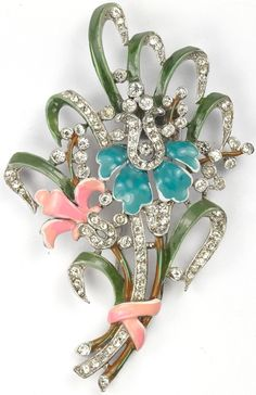 Trifari 'Alfred Philippe' Pave Pink and Blue Enamel Floral Spray Pin Clip