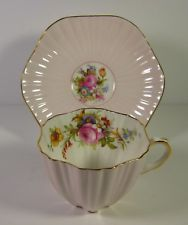 Pink and Floral Foley Tea Cup & Saucer Ruffled Shape 3627 England
