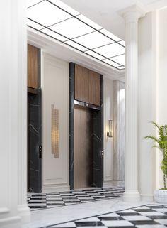Botanical Residence on Behance Elevator Lobby Design, Hotel Lobby Design, Skylight Design, Ceiling Design, Wall Cladding Designs, Waiting Room Design, Lift Design, Lobby Interior, Entrance Design