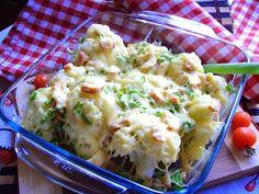 Kalafior zapiekany z szynką i serem. Szybka zapiekanka kalafiorowa.