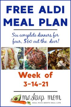 Free ALDI Meal Plan week of 3/14/21: Six complete dinners for four, $60 out the door! Save time & money with meal planning, and enjoy everything from roast chile-lime chicken & potatoes to easy fish tacos this week. Frugal Meals, Freezer Meals, Real Food Recipes, Healthy Recipes, Meal Recipes, Recipies, Chile Lime Chicken, Roasted Vegetables With Chicken, Meal Planning Board