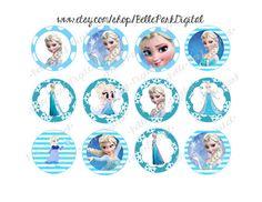 "Instant Download - Frozen Elsa INSPIRED -  2"" inch Round Images Bottlecap Images - Cupcake Topper Digital File Instant"