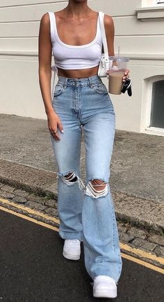 Glamouröse Outfits, Teen Fashion Outfits, Retro Outfits, Cute Casual Outfits, Look Fashion, Stylish Outfits, Spring Outfits, College Outfits, Summer Jean Outfits