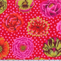 Designed by Kaffe Fassett for Westminster Fabrics, this cotton print fabric is perfect for quilting, apparel and home decor accents. Colors includes orange, fuchsia, avocado green, brown and burgundy on a pink polka dot tomato background.