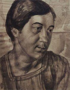 Portrait of the Artist's Wife, 1913  Kuzma Petrov-Vodkin