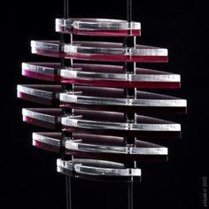 PHOENIX pendentif-collier ajustable en verre acrylique, fuchsia