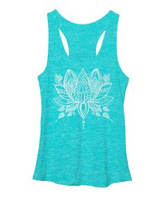 Turquoise Henna Lotus Racerback Tank: perfect for yoga or work out