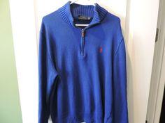 Ralph Lauren Polo 100% Cotton Solid Royal Blue Crew Neck Sweater SZ XL EUC #RalphLaurenPolo #12Zip