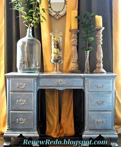 Pearl Blue and Silver Leaf Desk Redo... (Rub n Buff)