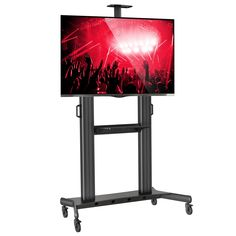 Mount Factory Rolling TV Stand Mobile TV Cart for 40-90 inch Flat Screen, LED, LCD, OLED, Plasma Curved TV's - with Mount Universal with Wheels. Universal fit and compatibility for televisions from 40 - 90 in. Sturdy steel frame; rated for TVs up to 300 pounds, heavy-duty locking wheels (casters). Ideal mobile TV display that can move to any room in the home or office. Universal fit - fits VESA hole patterns from 200mm x 200mm to 1000mm x 600mm. Rolling TV stand includes component shelf…