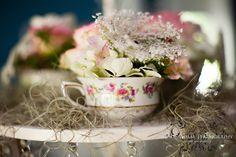 LAUREN + CHARLIE | LaPine Alabama Wedding Photographers Photo | Vintage Teacup Flower Arrangement