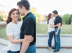 What to wear for your engagement session- love the simple white shirt and cute heels