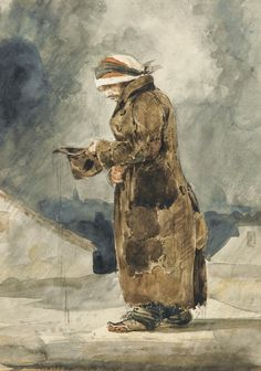 """Eugène Delacroix (French, 1798-1863), Le mendiant anglais [The English Beggar]. Watercolour on paper, 22.8 x 16 cm. """""""