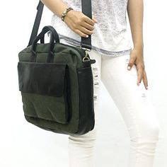 Black Leather and waxed canvas bag for woman Handmade 13inch crossbody MacBook messenger with pocket -- Learn more by visiting the image link. #Handmadehandbags
