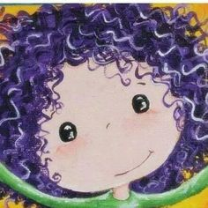 Cute Girl With Purple Curly Hair