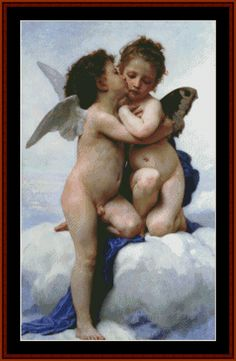 Cross Stitch Collectibles - Detail1 - BOU-01.2 - First Kiss - Bouguereau - Children - Classicism - All cross stitch patterns - Nudes - Romantic - Groups & Figures - Cross Stitch Collectibles
