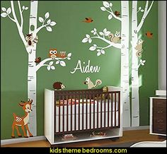 Birch Trees Wall Decal Nursery Wall Decal Forest Trees Wall Decal Animals Owsl Squirrels Bambi Baby Room Art Decor