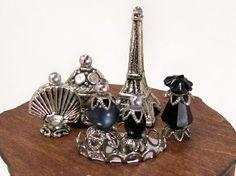 Dollhouse Miniature Paris Nights Black Perfume Bottle Collection
