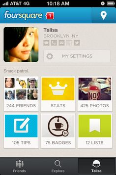 #allnew4sq The new Foursquare profile is compressed into a one-screen tile navigation rather than the list it once was. Lists moved from its own tab to a profile item.