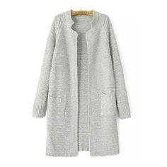 SheIn(sheinside) Light Grey Stand Collar Long Sleeve Knit Cardigan ($22) ❤ liked on Polyvore featuring tops, cardigans, outerwear, grey, gray cardigan, long cocoon cardigan, long grey cardigan, embellished tops and short-sleeve cardigan