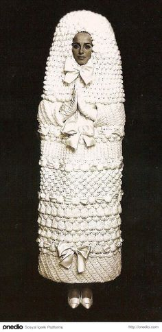 // YSL knitted wedding dress 1965 Never thought YSL could make mistakes.I was wrong. Lol Still a huge YSL junkie though Ugly Wedding Dress, Unusual Wedding Dresses, Crochet Wedding Dresses, Ugliest Wedding Dress, Modest Wedding, Bad Wedding Dresses, Horrible Wedding Dress, Wedding Attire, Wedding Sweater