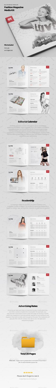 Magazine Media Kit Template PSD #design Download: http://graphicriver.net/item/magazine-media-kit/14177842?ref=ksioks