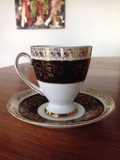 Royal Stafford black and gold bone china tea cup and saucer