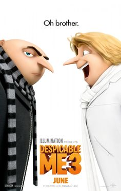 Despicable Me 3 (June 30, 2017) an animated comedy film directed by Kyle Balda, Pierre Coffin, written by Ken Daurio. Stars: Jenny Slate, Kristen Wiig, Steve Carrell. Storyline: Balthazar Brett, a child star from the 1980's hatches a scheme for World Domination.