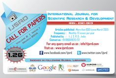 IJSRD is a leading e-journal, under which we are encouraging and exploring newer ideas of current trends in Engineering and Science by publishing papers containing pure knowledge.